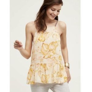 HD in Paris Strappy Lined Sheer Peplum Floral Top